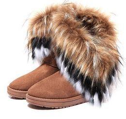 2017 la conception de chaussures de couleur Gros-HOT nouveau style renard artificielle lapin design 4 couleurs des bottes de neige de fourrure gland femmes Hauteur femmes chaussures Dérouler / Livraison gratuite SN01 la conception de chaussures de couleur à vendre