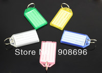 acrylic luggage tags - Blank Plastic Rectangle Keychains luggage tag Insert Photo Keyrings key card number