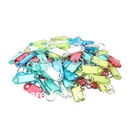 Wholesale-Free shipping Plastic Key chain Key Tags ID Label Name Key Tags Split Ring 5 colors,100Pcs lot