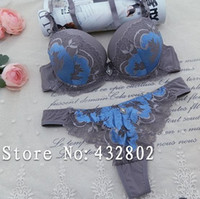 Cheap Wholesale-Intimate New 2015 Sexy Embroidery Push Up Bra Set For Women Lace Spell Color Bra And Thong Panty Set Noble Underwear Sets