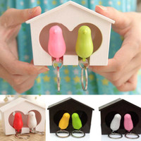 Wholesale Set Hot Lover Sparrow Whistle Keychain Bird Nest Birdhouse Wall Hook Key Ring Gadget