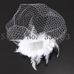 Wholesale New Wedding Bridal Bird cage Face Veil Fascinator White Feather Flower With Comb Hair Accessories