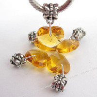 Wholesale New yellow Heart faceted crystal Charms Pendant Dangle Beads Fit European Bracelets