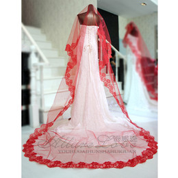 Wholesale Red wedding bridal veil lace computer m embroidered ultra long paragraph train veil