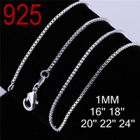 Wholesale silver chain men women Fashion box design sterling silver years guarantee cupper round shape chain Necklace jewelry