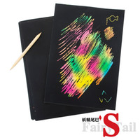 Cheap Wholesale-Child handmade painting set colorful baby scraping drawing paper 16k 10 bamboo pen 19 26cm