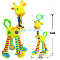 Cheap Wholesale-One piece 46cm ELC giraffe baby rattles bed hanging toys,Early Education stuffed animals&plush deer toy 0-12 Month Free