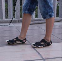 plastic toe cap - Summer New Korean Men Toe Cap Covering Plastic Beach Sandals Sport Sandals Hole Shoes Sandals Men Size