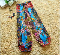 baggy trouses - piece National Bohemian style totem printed baggy pants loose wide legs pants trouses Capris for women