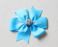 Wholesale rhinestone hair bows with Clips Grosgrain ribbon hair bows gilrs Hair Bow Baby bows Hairpins
