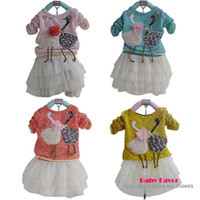 Cheap Wholesale-Free Shipping 1pc Kids Toddlers Children Baby Girl Lace Flower Swan Dress Crochet Knit Top Chiffon Tutu Costume Outfit Clothes