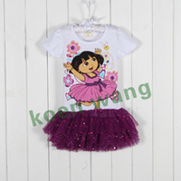Wholesale new summer children s clothing girl short sleeved sequined yarn Dora cartoon Princess Dress