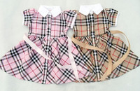 childrens wear - New Girls Summer Dresses Kids Fashion Plaid Dress British Style Childrens Cotton Clothing Wear For Yrs Red Nevy Beige