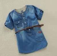 short dress with jeans - Top Quality Girl summer dress HOT Piece Retail Children Dress for girls Causal Short Sleeve Denim Jeans with belt C131