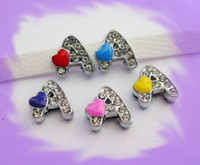 Wholesale 50pcs mm A Heart Slide Letters DIY Charms Accessories Fit Pet Collar Pet Names