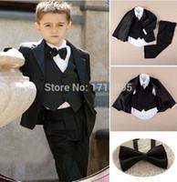 Wholesale Kid Notch Collar Children Wedding Suit Boys Attire Jacket Pants Tie Shirt Vest