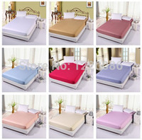 Cheap Wholesale-Hot Sale 100% Cotton Bed Sheet Colorful Twin Queen King Size Fitted Sheet bedspread Mattress Cover Sheets Not Fade Not Pilling