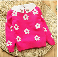 Wholesale New Girl Doll Of Autumn Winters Collar Lace Pearl Plum Hubble bubble Sleeve Sweater Coats Children Sweater