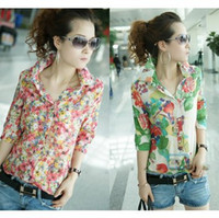 Cheap Wholesale-New Button collar chiffon Shirt blouse fashion Women Casual full Flower floral print half Sleeve blouse Top shirt