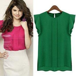 Wholesale-Womens Blouses Chiffon Clothing Summer Lady Blouse Shirt S-XL Sale New 2015 Fashion Ruffle Short Sleeve 4 Colors Tops OL Blouse