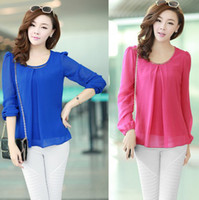 Cheap Wholesale-Women Chiffon Blouses Sheer Shirt Korean Sweet Full Sleeve Lantern Sleeve Tops Candy Color S-4XL Plus Size 2015 Spring QY0219