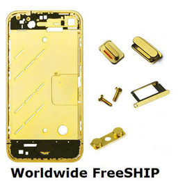 2017 gold frame Al por mayor-PARA IPHONE 4 chapado en oro COLOR bastidor del chasis medio mid Vivienda mundo Freeship gold frame baratos