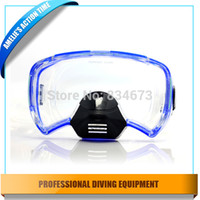 Wholesale Professional silicone scuba diving mask spearfishing mask in Black Blue Adult scuba gear