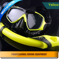 aqua lung - Professional Top quality scuba gear silicone diving mask snorkel adult scuba diving equipment aqua lung dry Blue Yellow Red