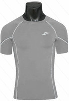 athletic speed training - New Short Sleeve Athletic Skin Tight Fitness Shirts Speed Drying Training Suit Running Bodybuilding Sport T Shirt