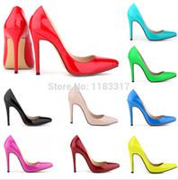 achat en gros de jaune talons hauts-Gros-2015 Plus Size 35-42 Neon Jaune talon mince Pointu Pompes Bleues femmes Loyal hauts talons rouges fond chaussures sexy femme Vintage