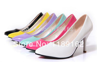 Wholesale Sexy Toes Wedge Shoes - Wholesale-(34-39 yards) free shipping 2015 new sexy women's candy-colored patent leather pointed high-heeled shoes