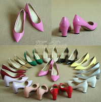 Cheap Wholesale-Women Multi Colored Chunky High Heel Shoes Pointed Toe Prom Silver Hot Pink Nude Patent Leather Pumps Small Big Size 4 10 11 12