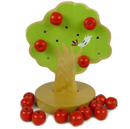 Wholesale Baby Toys Japan Montessori Education Kids Wooden Toys Early Learning Magnetic Toys Apple Tree Math Toy Gift