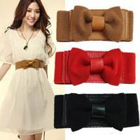 Wholesale Fashion Bowknot Designer Women s Cummerbund Woman Ladies Leather Belt Female Waistband black white red brown to choose