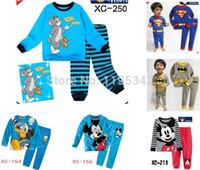 Wholesale sets children TOM amp Jerry Mickey Mouse Superman full sleeve pajamas kids pyjamas boys Cartoon sleepwear homewear baby