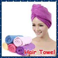 Al por mayor [SHOP FORREST] Toalla de sequía de Magic Hair de microfibra de alta calidad de Señora Sombrero (5 pedazos / porción) FRH-91