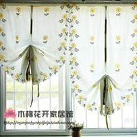 kitchen curtains - Roman Style Flower Daisy Embroiered Tulles Sheer Voile Window Curtains Finished Product for Kitchen Curtain Pink Yellow