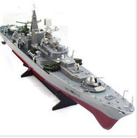 Wholesale High simulation rc toy Non toxic material Remote control speedboat boat military model warship cruiser design flashing kids gift