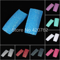 Cheap Wholesale-100pcs Stunning Glitter Twinkle Slice Artificial False Nails French Acrylic Nail Tips