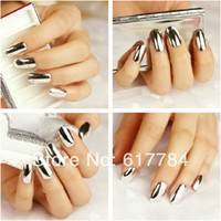Wholesale Full Cover False Nail Tips Silver Metal Fake Nails Extension Decorated Makeup Kits