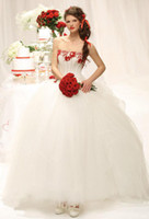Wholesale Delfi White Ball Gown Embroidery Corset Strapless Wedding Dresses Tulle Satin Red Rose Sash Design