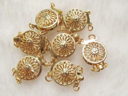 Findings 2 Row Gold Plated Sunflower Clasp 10pcs