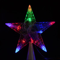 Wholesale LED Indoor Outdoor Christmas Tree Topper Star Lights Lamp Xmas Decoration Night Light V EU