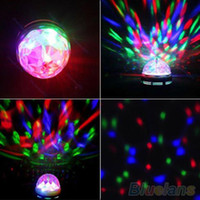 Wholesale Crystal Magic Ball Stage Effect Light Led RGB Rotating Big Lamp Disco DJ Party R8J