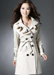 Wholesale Women s trench coats for spring autumn notch collar double breasted ruffle front belted trench coat