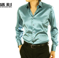 Cheap Wholesale-Free shipping Emulation silk Men casual shirt men long sleeved shirt for men clothing