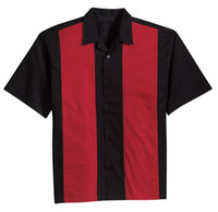 alternative clothing men - Retro vintage style clothing men s shirt tops bowling shirt cotton black red alternative design man clothes contrast colors XL