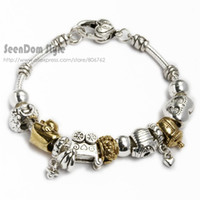 Cheap Wholesale-925 Silver & Gold Plated Heart Beads Love Family Baby Bottle Clothes Stroller Charms Pulseiras Bracelet Jewelry+Gift Pouch