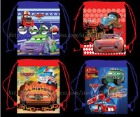 Cheap Wholesale-Newest Arrive 12Pcs Lovely Cars Kids Cartoon Drawstring Backpack School Bags Kids Christmas Birthday Gift 34X27CM kids Party Bag