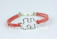 Women's autism awareness colors - Min Order Silver Charm Puzzle Bracelet Autism Awareness Bracelet Friendship Bracelet Colors Available